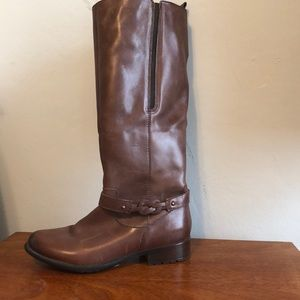 riding boots brown leather detail on the ankle